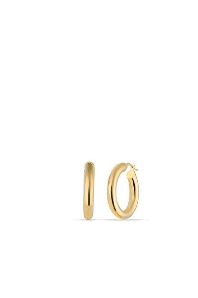 MySilvers 30mm Gümüş Halka Küpe Kadın Altın