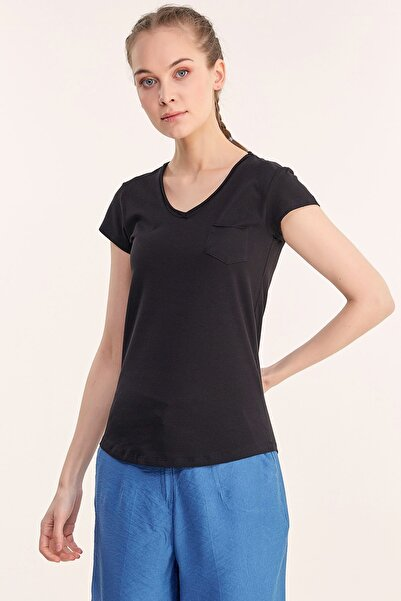 Fulla Moda Kadın V Yaka Tshirt