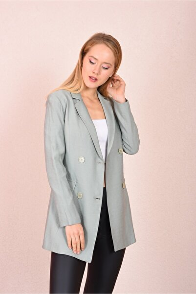 For Angels Badem Yeşili Boyfriend Blazer Ceket Mod192082136