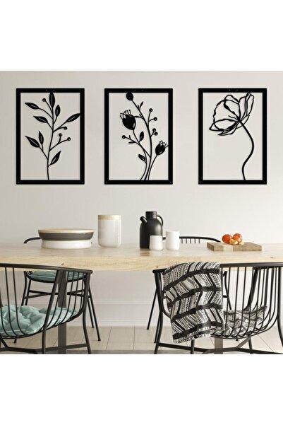 Metalium Concept Dekoratif Üçlü Set Metal Duvar Tablosu Gelincik Çiçeği Temalı 32x45cm X 3 Adet