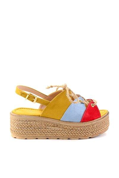 Bambi Turun/b.mavi/sarı Kadın Sandalet H0687001065