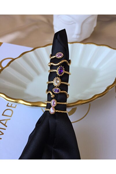 Ophelia Aksesuar Gold 6'lı Renkli Taşlı Avantajlı Yüzük Seti