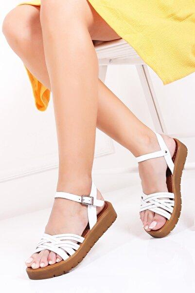 Deripabuc Hakiki Deri Beyaz Kadın Deri Sandalet Dp-1013