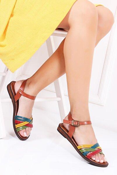 Deripabuc Hakiki Deri Multi-1 Kadın Deri Sandalet Dp-0013