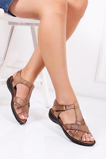 Deripabuc Hakiki Deri Vizon Kadın Deri Sandalet DC-0111