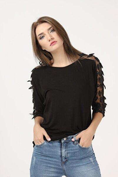 TENA MODA Kadın Siyah Dirsek Kol Viskon Yapraklı Bluz