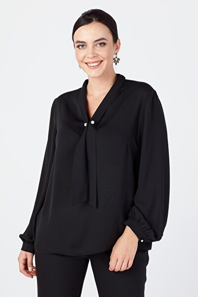 Ekol Kadın Siyah Kravat Yaka Bluz 20K.EKL.BLZ.02515.1