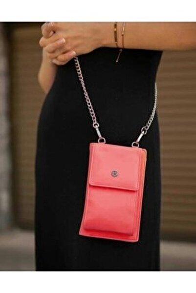 Kadın Kırmızı Telefon Bölmeli Şık Omuz Çantası