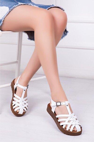 Deripabuc Hakiki Deri Beyaz Kadın Deri Sandalet Dp-0097