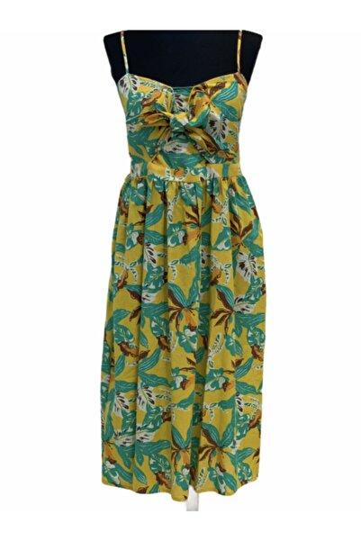 River Island Sayaz Boutique Renkli Sırt Kısmı Lastik Detaylı Ipli Elbise