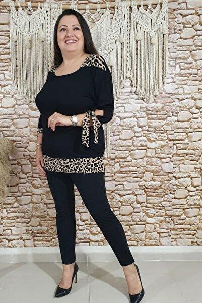 sinemisxxl Kolları Bağcıklı Siyah Leopar Bluz