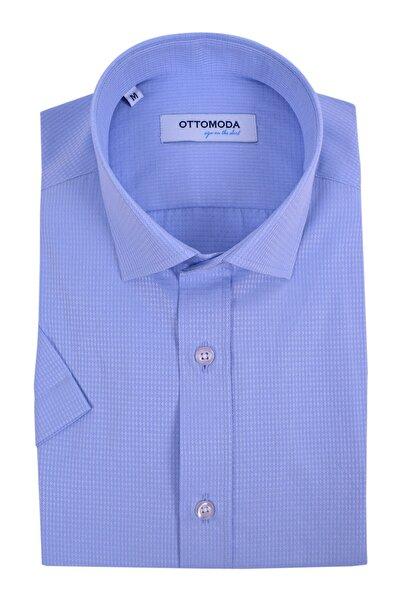 Ottomoda Kısa Kollu Armürlü Erkek Gömlek Açık Mavi