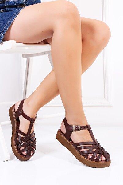 Deripabuc Hakiki Deri Kahverengi Kadın Deri Sandalet DP-0097