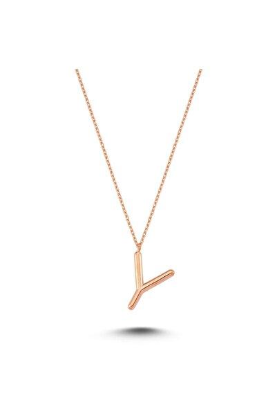 Bulvardi Harfli Gümüş Kolye Rose - Y Harfi - Standart - Alv006-2064