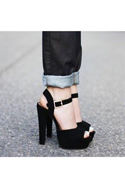 Ayakkabı Delisiyim Sera Süet Siyah Burnu Açık Kalın Topuklu Platform Ayakkabı
