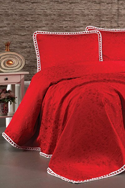 Evlen Home Begonvil Yatak Örtüsü 3 Parça Ponponlu Kırmızı