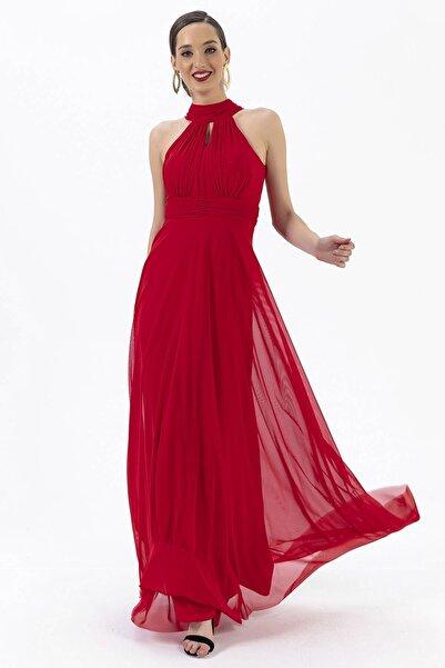 By Saygı Boyun Bağlamalı Uzun Tül Abiye Elbise Kırmızı