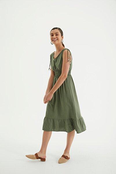 Reyon Askılı Bel Büzgülü Keten Günlük Elbise Haki