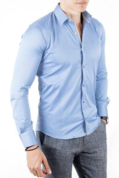 DeepSEA Erkek Mavi Çıtçıt Düğmeli Klasik Gömlek