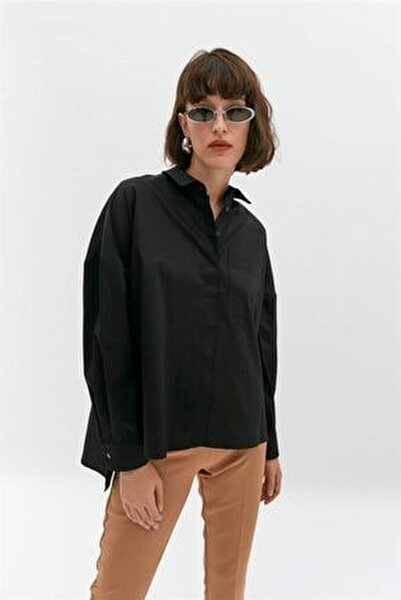 Siyah Oversize Poplin Gömlek