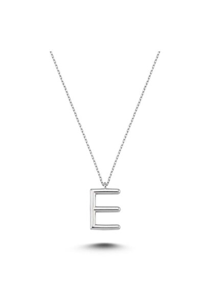 Bulvardi Harfli Gümüş Kolye Gümüş Rengi - E Harfi - Standart - Alv005-2014
