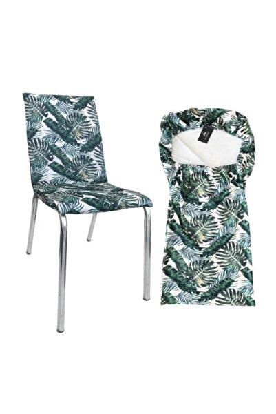 Alyhome Sandalye Kılıfı - Mutfak Tipi Yeşil Yaprak 4'lü Set Kılıf
