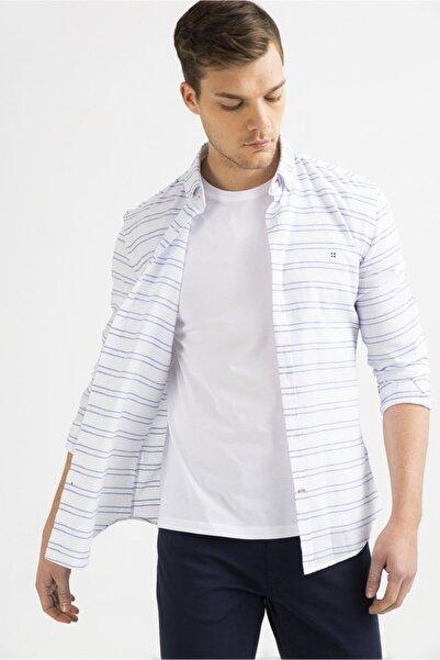 Avva Erkek Beyaz Enine Çizgili Düğmeli Yaka Slim Fit Gömlek A01y2022