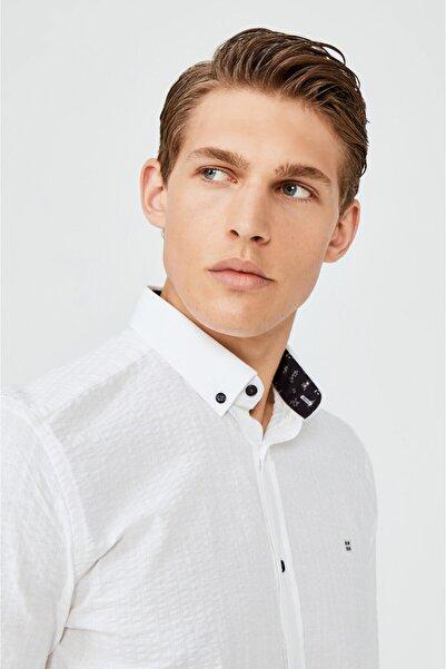Avva Erkek Beyaz Seersucker Düğmeli Yaka Slim Fit Garnili Gömlek A02y2100