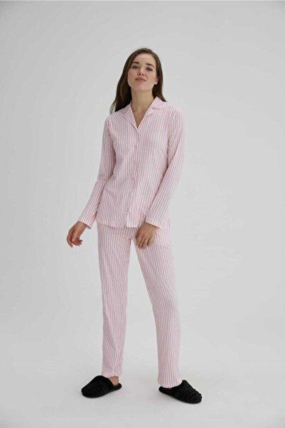Eros Pijama Kadın Pembe Pamuklu Pembe Çizgili Pijama Takımı