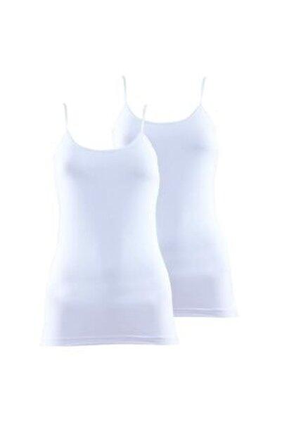 Kadın Ince Askılı Atlet 2'li Paket Essential 1591 - Beyaz