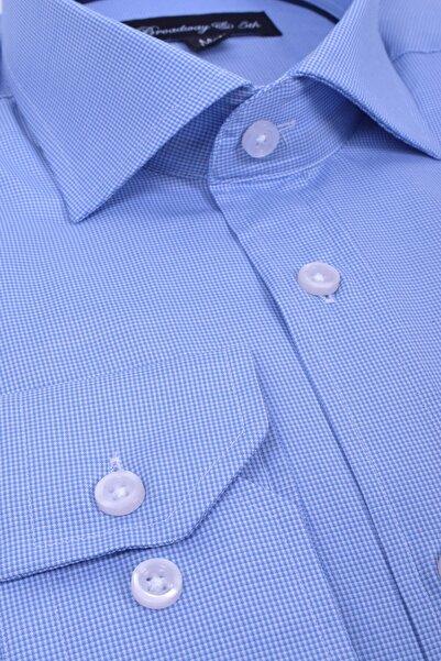 Ottomoda Broadway Uzun Kollu Mini Kareli Gömlek Baby Blue