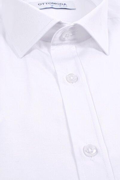Ottomoda Kısa Kollu Klasik Erkek Gömlek Beyaz