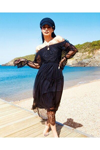 Fashion Fox Kadın Siyah Madonna Mevlid Kına Nişan Dantel Elbise 9369
