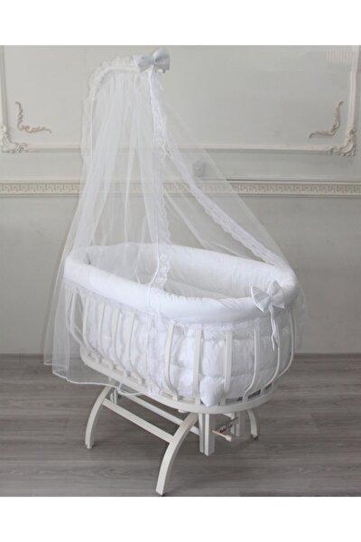 babyen1 Beyaz Sepet Beşik Uyku Seti (BEŞİK DAHİL DEĞİLDİR)anne Yanı %100 Organik Pamuk
