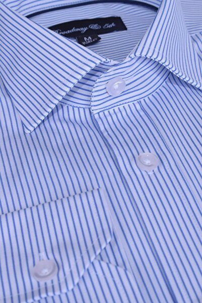 Ottomoda Broadway Uzun Kollu Mavi Çizgili Erkek Gömlek