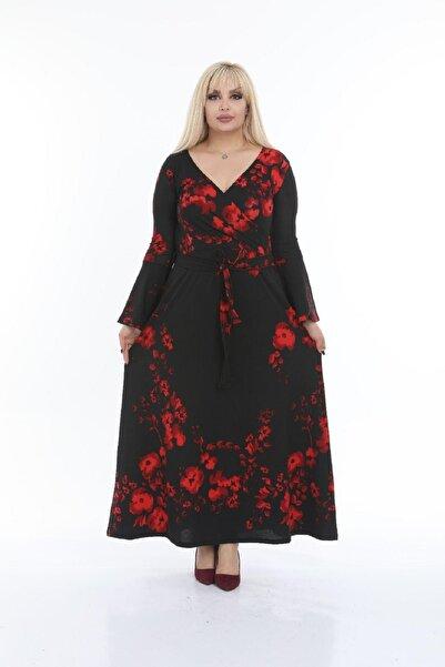 Şirin Butik Kadın Büyük Beden Gelincik Desen Kruvaze Yaka Kuşaklı Elbise