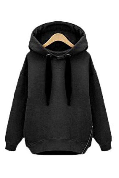 Yeni Model Kadın Fermuar Detay Kapşonlu Sweatshırt (Siyah)