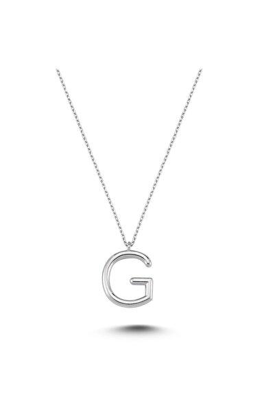 Bulvardi Harfli Gümüş Kolye Gümüş Rengi - G Harfi - Standart - Alv005-2016