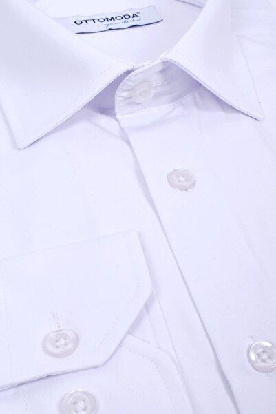 Ottomoda Iz Ada Cepli Uzun Kollu Beyaz Klasik Gömlek
