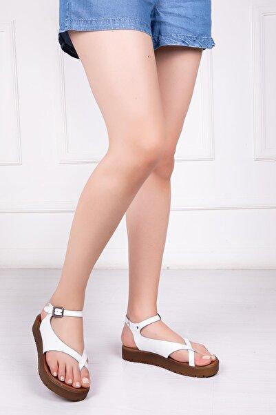 Deripabuc Hakiki Deri Beyaz Kadın Deri Sandalet Dp-1081