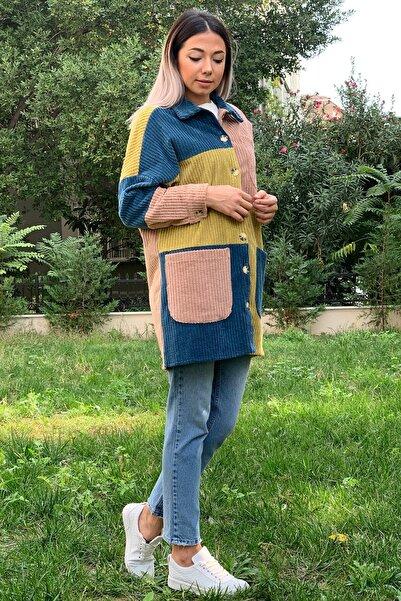 ZİNDİ Kadın Iri Cepli Puzzle Ceket Petrol