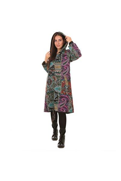 Otantik Tekstil Kadın Kışlık Içi Polarlı Kapüşonlu Etnik Desenli Elbise&kaban