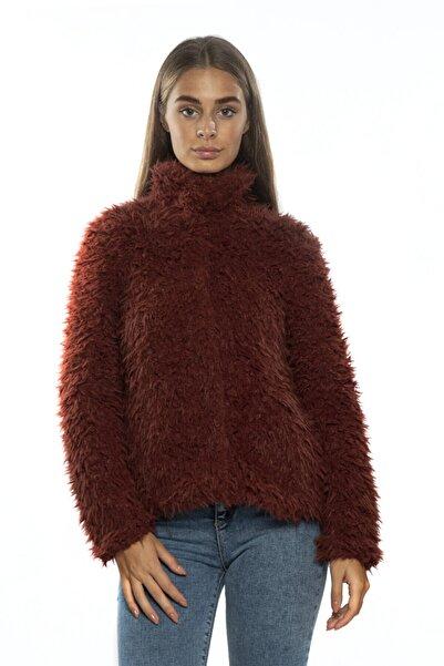 Vero Moda Kadın Bordo Suni Kürk Mont