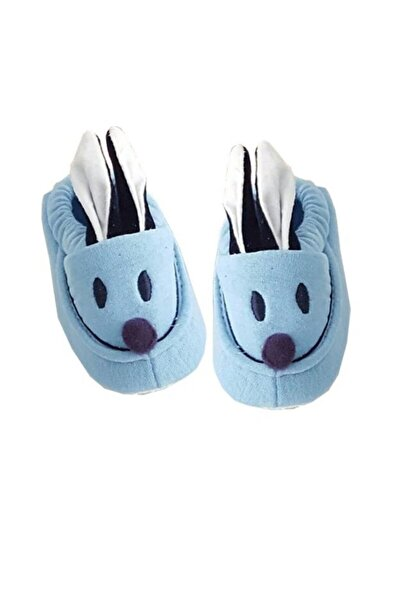 bebegen Tavşan Kulaklı Penye Kaymaz Taban Bebek Panduf Patik Mavi