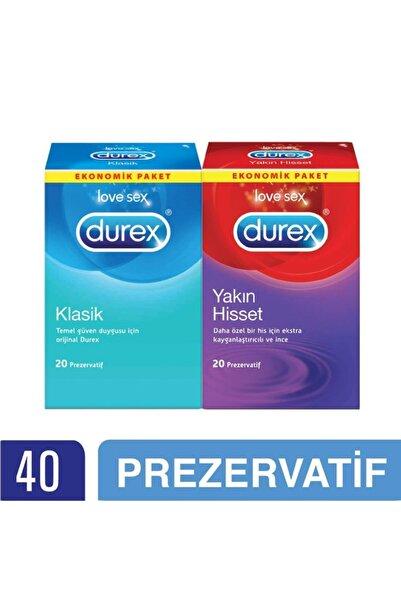 Durex Yakın Hisset + Klasik Prezervatif 40'lı Ekonomik Paket
