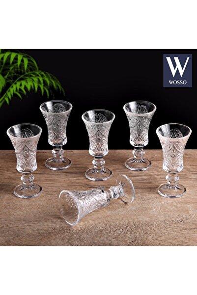 WOSSO 6'lı Kristal Camlı Kadeh Bardak Takımı (Kahve Yanı Su Bardağı)