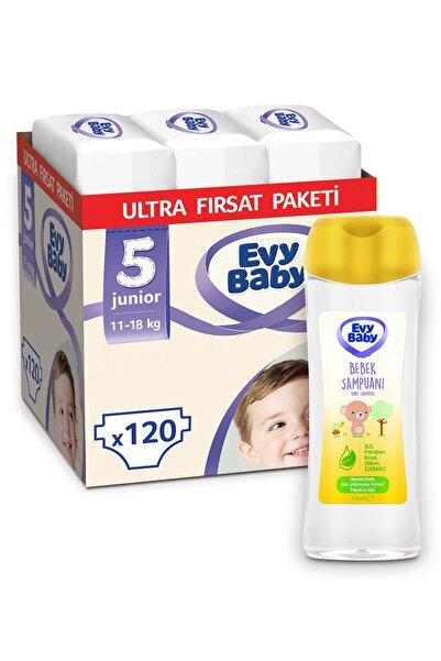 Evy Baby Bebek Bezi 5 Numara Junior Ultra Fırsat Paketi 120 Adet ve Bebek Şampuanı