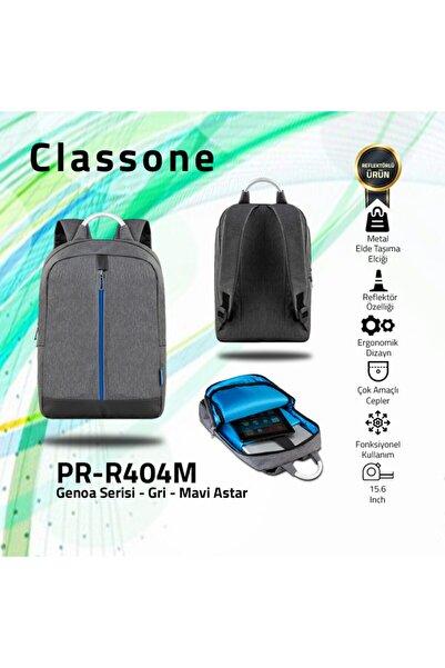 Classone Genoa Pr-r404m 15.6 Inç Laptop, Notebook Sırt Çantası-gri-mavi Astar