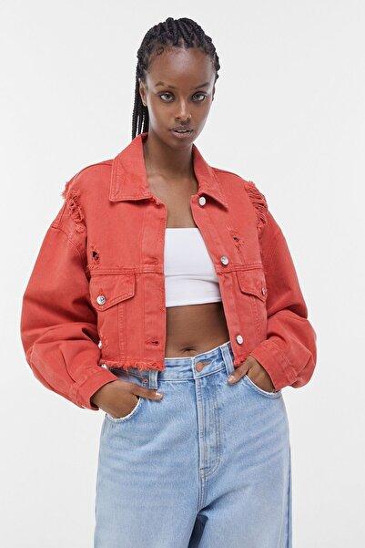 Bershka Kadın Kırmızı Acid Wash Distressed Ceket 01308019