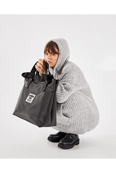 Shule Bags Kadın Siyah Patlı Shopper Omuz Çantası